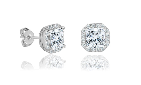 Crystal Cushion Halo Stud Earrings