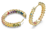 Crystal Rainbow Princess In and Out Hoop Earrings