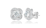 Cubic Zirconia Floral Stud Earrings