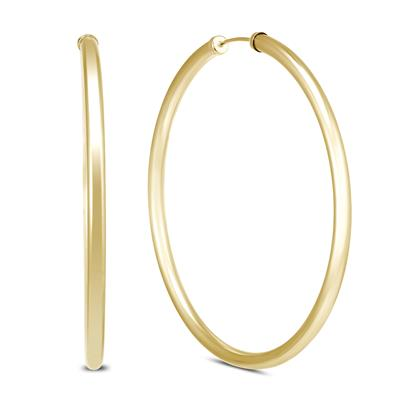 50MM 14K Yellow Gold Filled Endless Hoop Earrings (3mm Gauge)