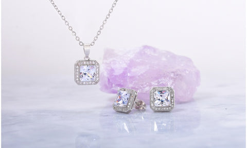 6.0 Carat Halo Pendant And Earrings Set