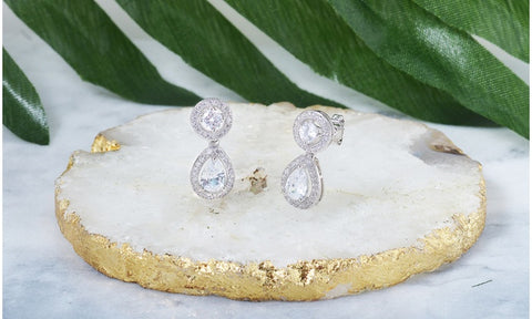 Double Halo Dainty Drop Earrings Made With Swarovski Elements