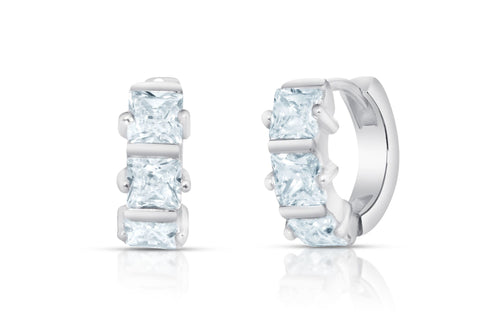 Crystal Princess Prong Mini Huggie Earrings Collection in Sterling Silver