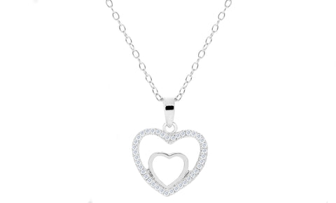 "Cubic Zirconia ""In My Heart"" Pendant With Chain"