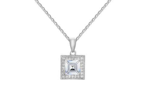 5.00 CTTW Crystal Asscher Cut Pendant Necklace