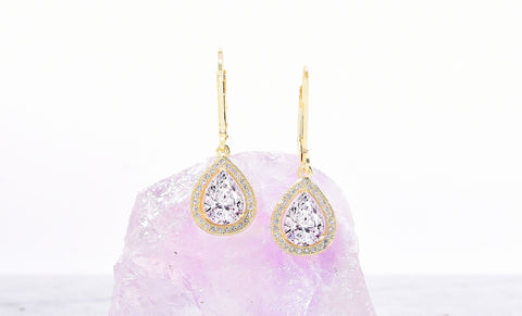 Swarovski Elements Pear Halo Drop Earrings