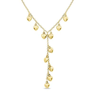 Puff Heart Charm Y Necklace in Gold Plated .925 Sterling Silver