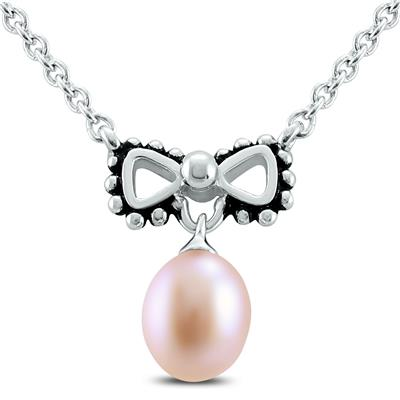 "Young Girls 14"" Bowtie Freshwater Cultured Pearl Necklace"