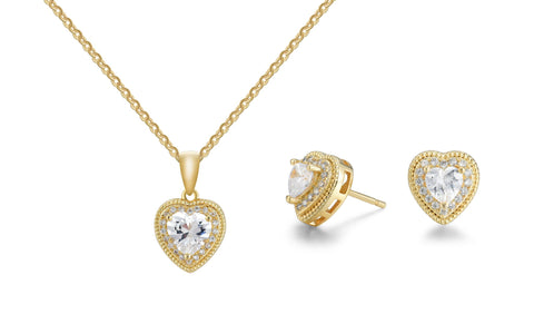 6.50 CTTW Crystal Heart Pendant and Earrings Set
