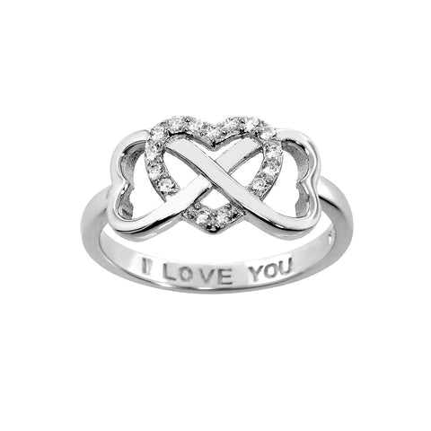 I Love You Engraved Cubic Zirconia Interlocking Heart Ring
