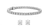 Stud Earrings and Tennis Bracelet Set Made with Swarovski Crystals