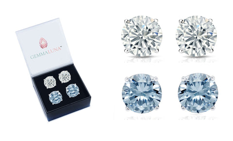 4 Carat Round Stud Earrings Set (2 Pack)