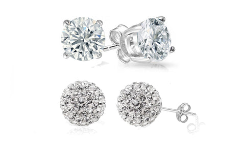 Crystal Ball And Stud Earrings Set (2 Pack)