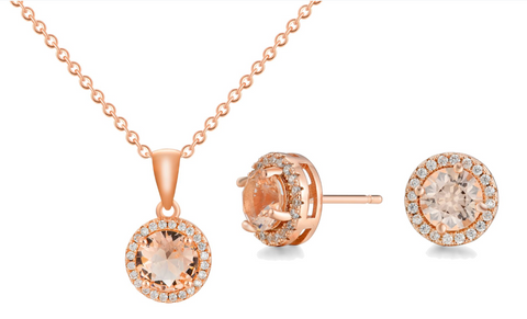 Round Halo Morganite and Cubic Zirconia Pendant and Earrings Set