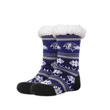 Women's NFL Sherpa Footy Sock Slippers Fair Aisle