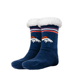 Women's NFL Sherpa Footy Sock Slippers Stripe Logo