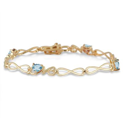 2 Carat Natural Blue Topaz Love Bracelet in 18K Gold Plated Brass