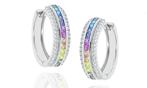 Rainbow Princess-Cut Hoop Earrings Made With Swarovski Elements