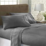 Home Collection Premium Striped Embossed 4 Piece Bed Sheet Set