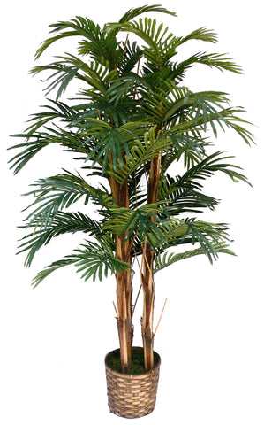"Laura Ashley 60"" Tall Palm Tree Artificial Faux Lifelike in Bamboo Wicker Planter"