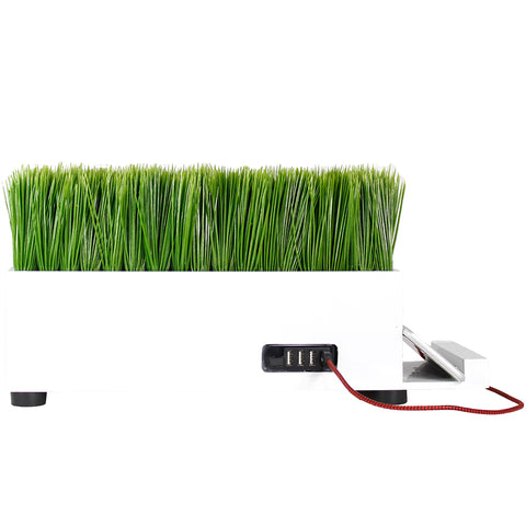 4-Port USB Charging Station Power Plant Artificial Lifelike Grass White Charging Station
