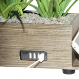 4-Port USB Charging Station Power Plant Artificial Lifelike Grass Taupe Charging Station
