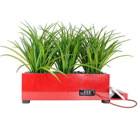 4-Port USB Charging Station Power Plant Artificial Lifelike Grass Red Charging Station