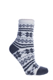"Women's Double Layer Shea Butter Infused ""Snowflakes"" Slipper Socks"