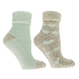 "Women's Lavender Infused ""Hearts"" Slipper Socks- 2-Pair Pack with Lavender Sachet"