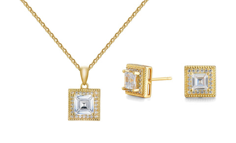 6.50 CTTW Crystal Asscher Cut Pendant and Earrings Set