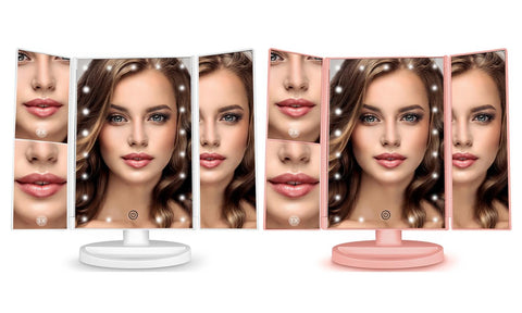 Tri-Fold Makeup Vanity Mirror with 21 Dimmable Touch LED Lights
