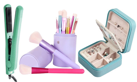 Beauty Gift Set with Makeup Brushes, Flat Iron, & Jewelry Organizer