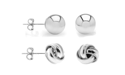 Solid Love Knot And Ball Stud Earrings Set