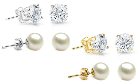 6 Carat Stud Earrings Set (2 Pack)