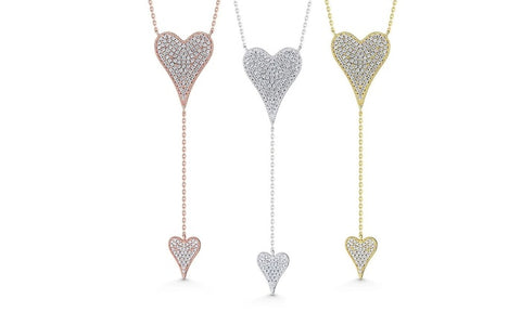 "Cubic Zirconia Double Heart ""Y"" Necklace"