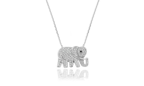 Lucky Elephant Crystal Pendant Necklace