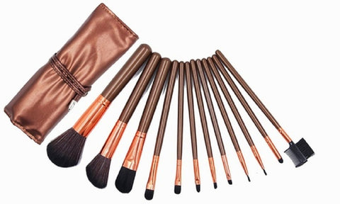 Professional Makeup Brushes Set w/ Vegan-Leather Travel Case (12-Pc.)