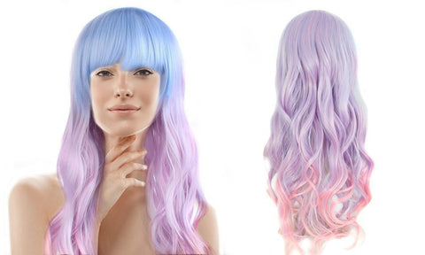 "26"" Wavy Multi-Color Lolita Mermaid Cosplay Party Wig"