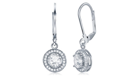 Swarovski Elements Round Halo Drop Earrings