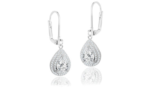 10.0 Carat Elegant Double Halo Pear Drop Earrings