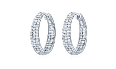 Inside And Out Round Pave Hoop Earrings