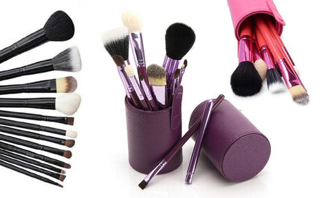 Professional Cosmetic Brush Set with Standing Leather Case (13-Piece)