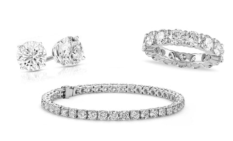 Round Swarovski Eternity Ring, Tennis Bracelet & Earrings Set (3 PACK)