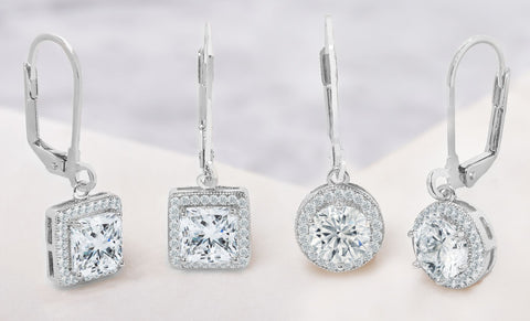 10 CTTW Halo Drop Earrings Set Made With Swarovski Elements (2 Pack)
