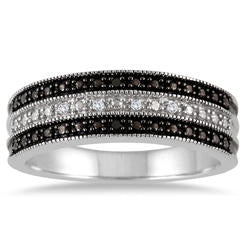Black and White Diamond Band in .925 Sterling Silver