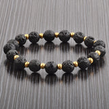 Crucible Black Lava Stone Gold IP Stainless Steel Beaded Stretch Bracelet (8mm Wide)