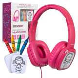 Kids' Over-Ear Blue Customizable Doodle Headphones with Safe Ears Volume Limiter