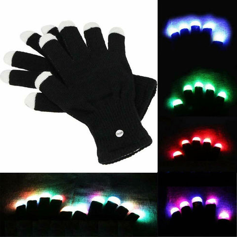 LED Flashing Light -Up Party Gloves (1 Pair)