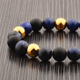 Sodalite and Matte Onyx Stone and Gold IP SS Bracelet (10mm)
