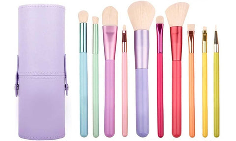 Pastel Hues Makeup Brushes Set with Cylinder Case (11 Piece)